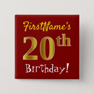 Red, Faux Gold 20th Birthday, With Custom Name 15 Cm Square Badge