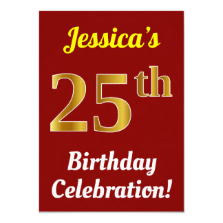 Red, Faux Gold 25th Birthday Celebration + Name Card