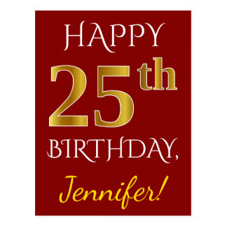Red, Faux Gold 25th Birthday + Custom Name Postcard