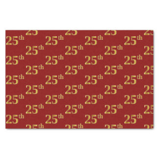Red, Faux Gold 25th (Twenty-Fifth) Event Tissue Paper