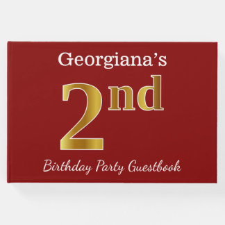 Red, Faux Gold 2nd Birthday Party + Custom Name Guest Book
