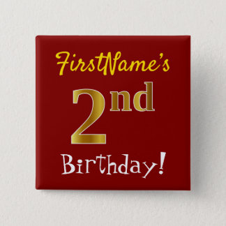 Red, Faux Gold 2nd Birthday, With Custom Name 15 Cm Square Badge