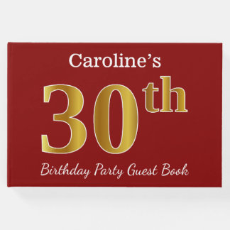 Red, Faux Gold 30th Birthday Party + Custom Name Guest Book
