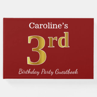 Red, Faux Gold 3rd Birthday Party + Custom Name Guest Book