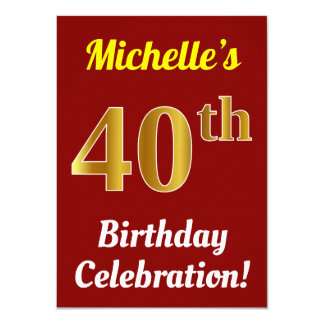 Red, Faux Gold 40th Birthday Celebration + Name Card