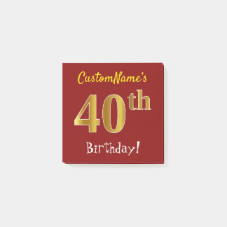 Red, Faux Gold 40th Birthday, With Custom Name Post-it Notes