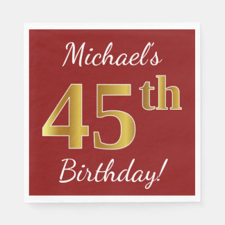 Red, Faux Gold 45th Birthday + Custom Name Paper Napkins