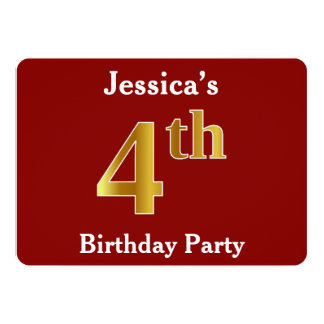 Red, Faux Gold 4th Birthday Party + Custom Name Card