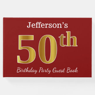 Red, Faux Gold 50th Birthday Party + Custom Name Guest Book