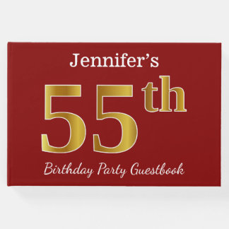 Red, Faux Gold 55th Birthday Party + Custom Name Guest Book