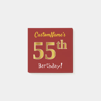 Red, Faux Gold 55th Birthday, With Custom Name Post-it Notes