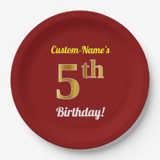 Red, Faux Gold 5th Birthday + Custom Name Paper Plate