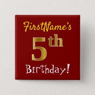 Red, Faux Gold 5th Birthday, With Custom Name 15 Cm Square Badge