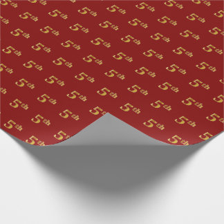 Red, Faux Gold 5th (Fifth) Event Wrapping Paper
