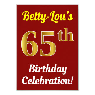 Red, Faux Gold 65th Birthday Celebration + Name Card