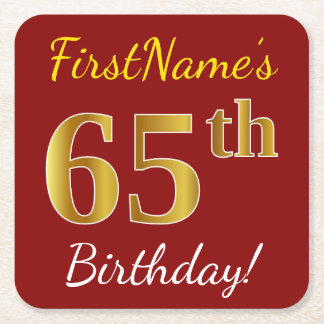 Red, Faux Gold 65th Birthday + Custom Name Square Paper Coaster