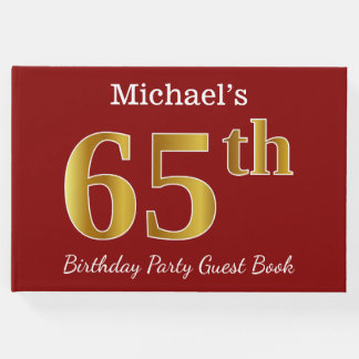 Red, Faux Gold 65th Birthday Party + Custom Name Guest Book