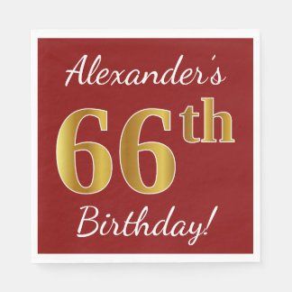 Red, Faux Gold 66th Birthday + Custom Name Disposable Napkins