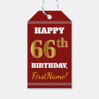 Red, Faux Gold 66th Birthday + Custom Name Gift Tags