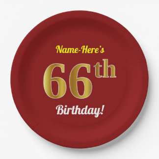 Red, Faux Gold 66th Birthday + Custom Name Paper Plate