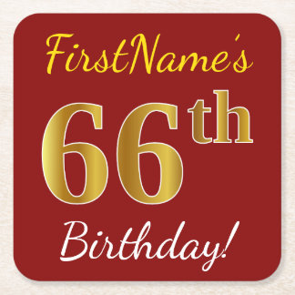 Red, Faux Gold 66th Birthday + Custom Name Square Paper Coaster