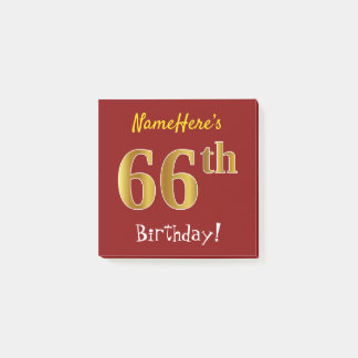 Red, Faux Gold 66th Birthday, With Custom Name Post-it Notes