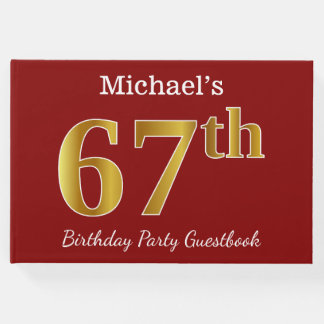 Red, Faux Gold 67th Birthday Party + Custom Name Guest Book