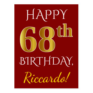 Red, Faux Gold 68th Birthday + Custom Name Postcard