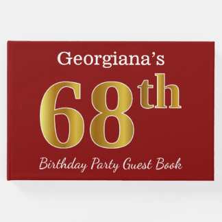 Red, Faux Gold 68th Birthday Party + Custom Name Guest Book