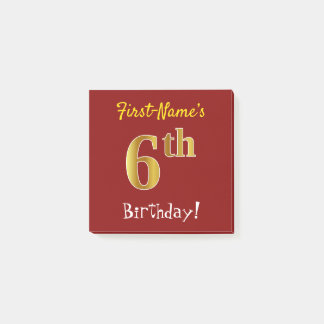 Red, Faux Gold 6th Birthday, With Custom Name Post-it Notes