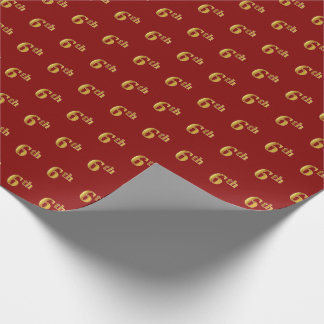 Red, Faux Gold 6th (Sixth) Event Wrapping Paper