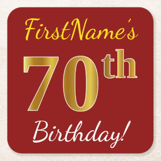 Red, Faux Gold 70th Birthday + Custom Name Square Paper Coaster
