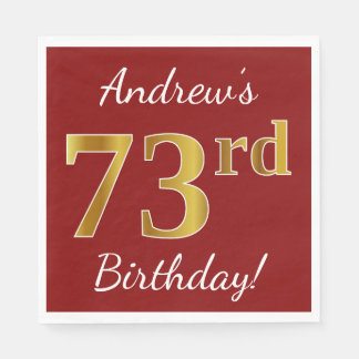 Red, Faux Gold 73rd Birthday + Custom Name Disposable Serviette
