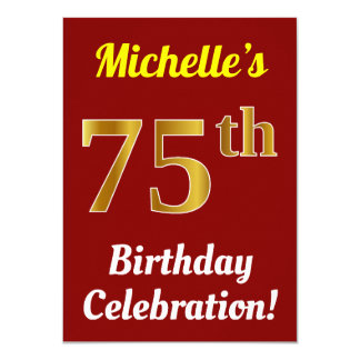 Red, Faux Gold 75th Birthday Celebration + Name Card