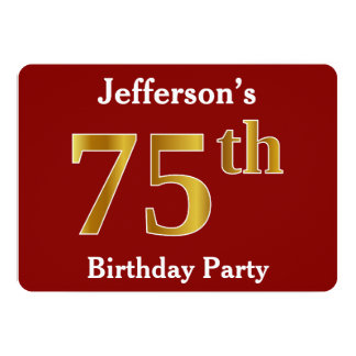 Red, Faux Gold 75th Birthday Party + Custom Name Card