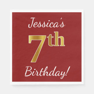 Red, Faux Gold 7th Birthday + Custom Name Disposable Serviettes