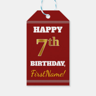 Red, Faux Gold 7th Birthday + Custom Name Gift Tags
