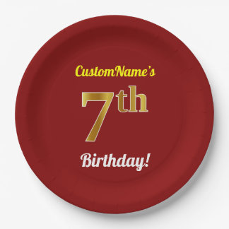 Red, Faux Gold 7th Birthday + Custom Name Paper Plate
