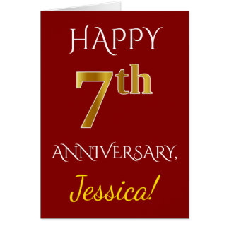 Red, Faux Gold 7th Wedding Anniversary + Name Card