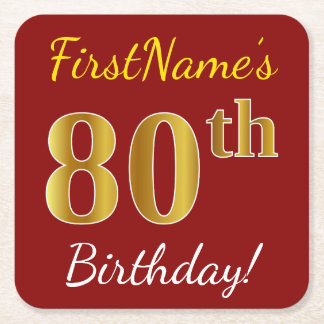 Red, Faux Gold 80th Birthday + Custom Name Square Paper Coaster