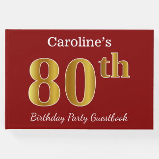 Red, Faux Gold 80th Birthday Party + Custom Name Guest Book