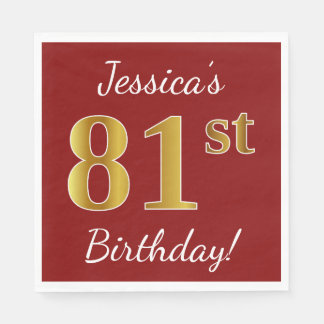 Red, Faux Gold 81st Birthday + Custom Name Disposable Napkins