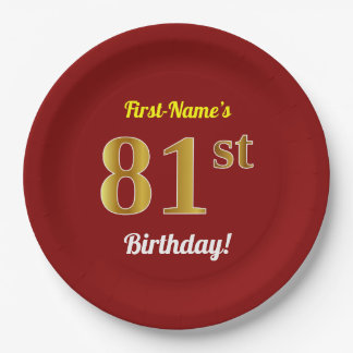 Red, Faux Gold 81st Birthday + Custom Name Paper Plate