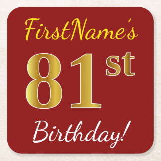 Red, Faux Gold 81st Birthday + Custom Name Square Paper Coaster