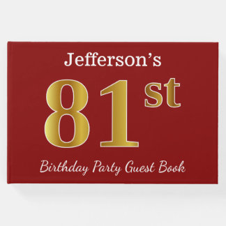 Red, Faux Gold 81st Birthday Party + Custom Name Guest Book