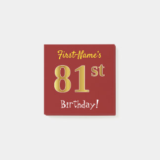 Red, Faux Gold 81st Birthday, With Custom Name Post-it Notes