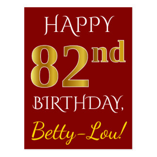 Red, Faux Gold 82nd Birthday + Custom Name Postcard