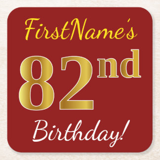 Red, Faux Gold 82nd Birthday + Custom Name Square Paper Coaster