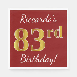 Red, Faux Gold 83rd Birthday + Custom Name Paper Napkins