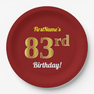 Red, Faux Gold 83rd Birthday + Custom Name Paper Plate